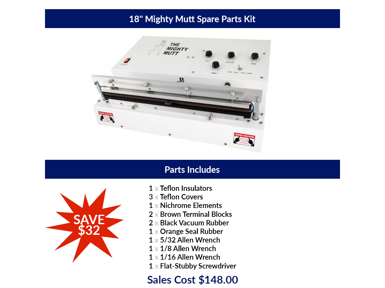 """Individual Spare Parts for 18"""" Mighty Mutt Single Heat Bar"""