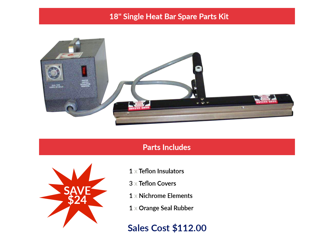 "18"" Single Heat Bar Spare Parts Kit"