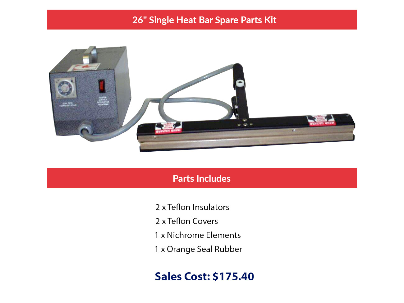"26"" Single Heat Bar Spare Parts Kit"